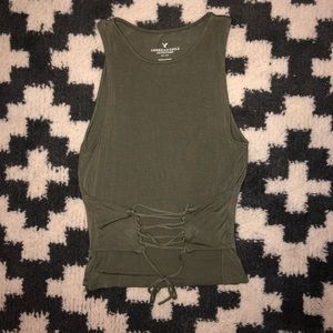 American Eagle Green Corset Lace Up Front Tank